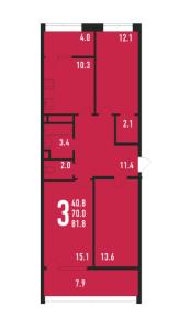 Планировка 3-комнатной квартиры в Ивантеевка 2020